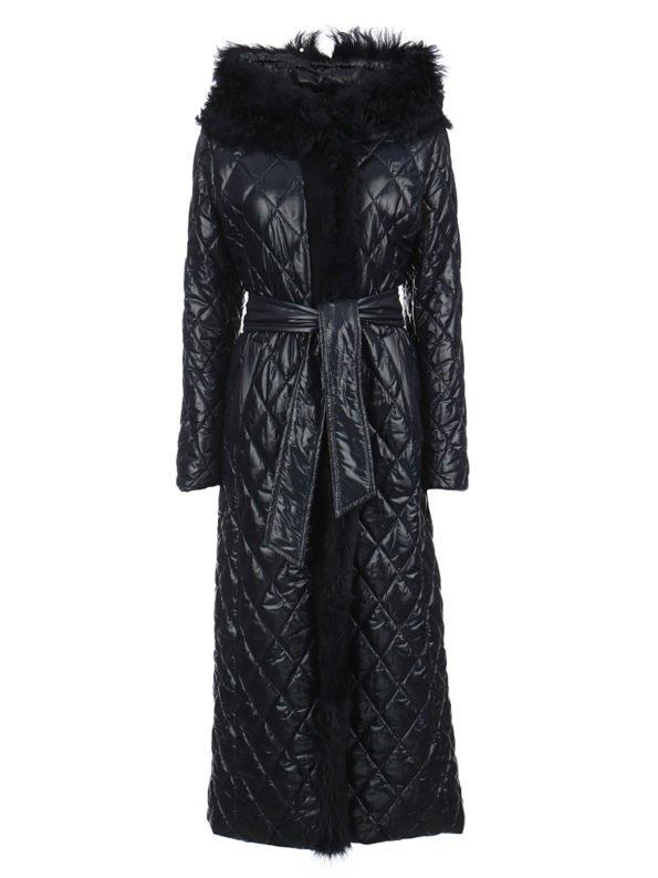 Пальто-пуховик стеганное с капюшоном на поясе