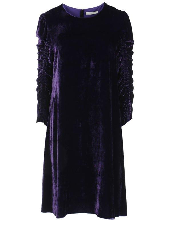 Платье бархат с присборенным рукавом
