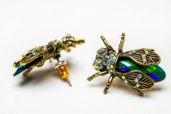 Изумрудные мухи - серьги