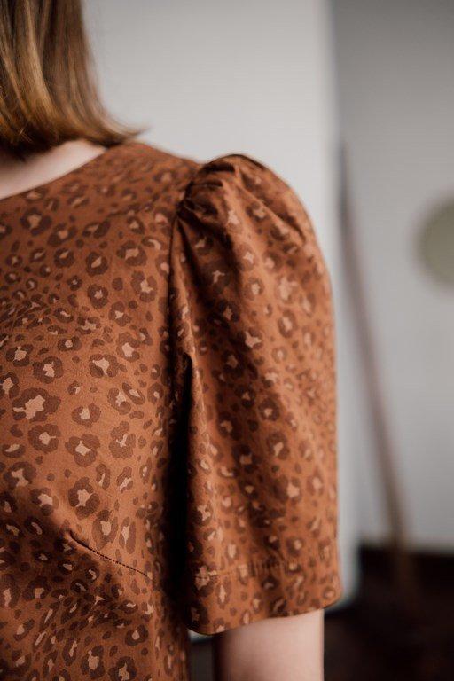 Блуза тигровый принт с рукавом фонарик