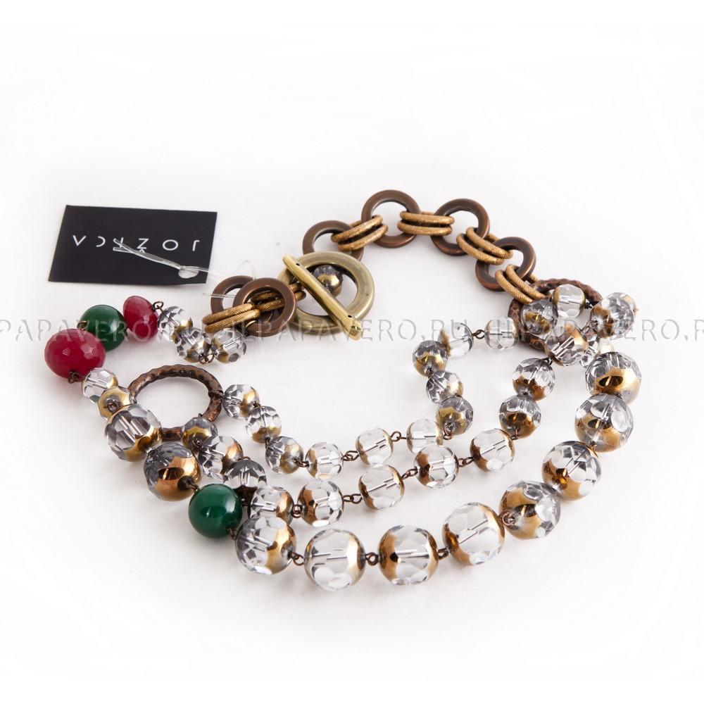 Ожерелье Jozica Кристаллы красный и зеленый